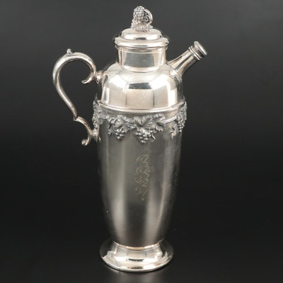 Knickerbocker Silver Plate Martini Pitcher with Grape Cluster Motif