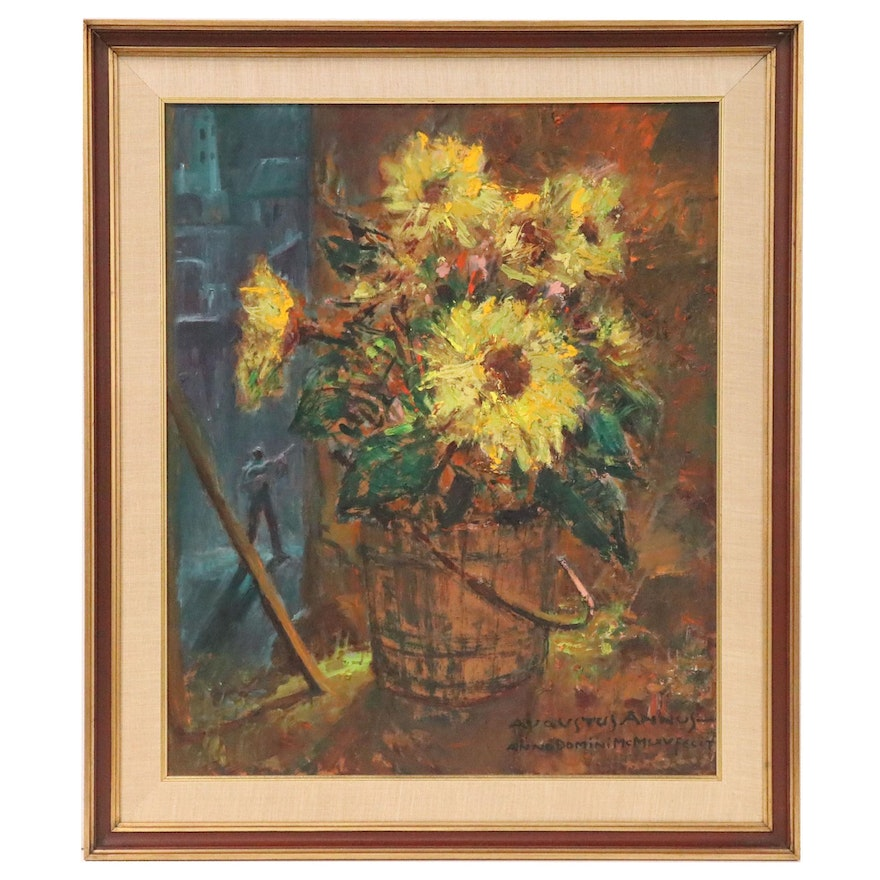 "Augustus Annus Oil ""Sunflowers with Guitarist"", Mid to Late 20th Century"