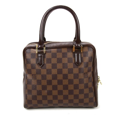 Louis Vuitton Triana Bag in Damier Ebene Canvas and Taiga Leather