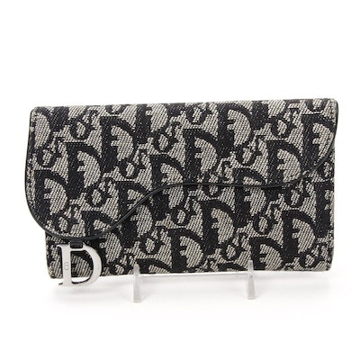 Christian Dior Saddle Flap Wallet in in Oblique Jacquard