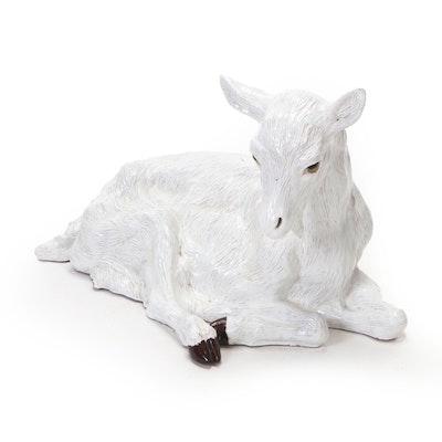 Life-Size Ceramic Sheep Lying Down