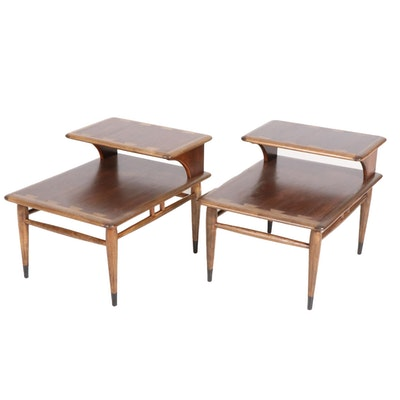 Andre Bus for Lane Acclaim Mid Century Modern Two-Tiered Walnut End Tables
