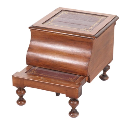Embossed Leather Top Bed Side Commode with Step, 19th Century
