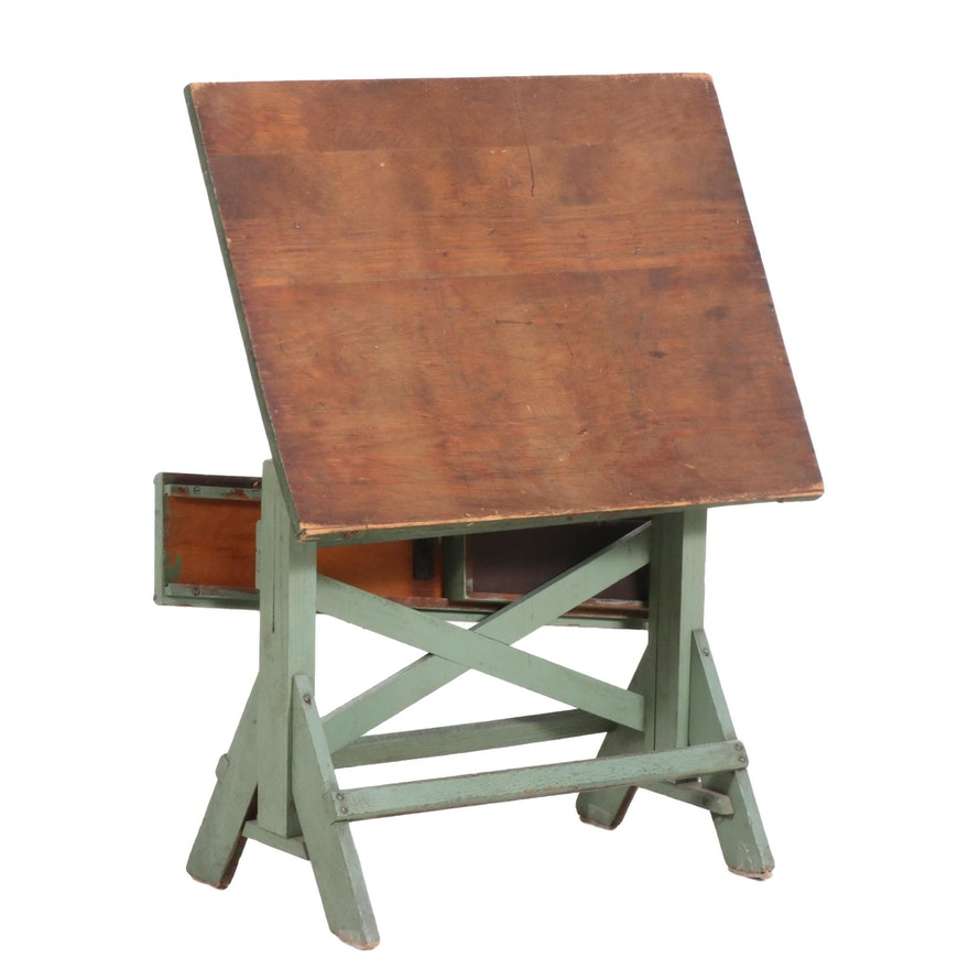Painted Wood Student Drafting Desk, Early to Mid 20th Century
