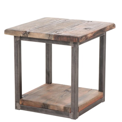 Industrial Style Reclaimed Wood End Table