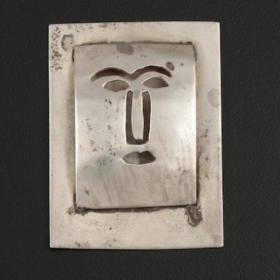 Modernist Sterling Silver Face Miniature Plaque