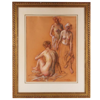 Robert Brackman Female Nudes Pastel Drawing