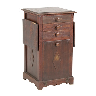 Wood Sewing Cabinet with Stowaway Project Box, Late 19th Century