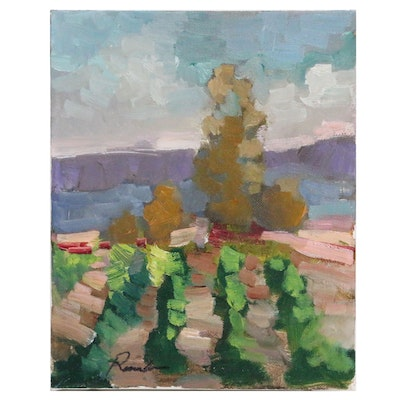 Sally Rosenbaum Vineyard Landscape Oil Painting, 21st Century