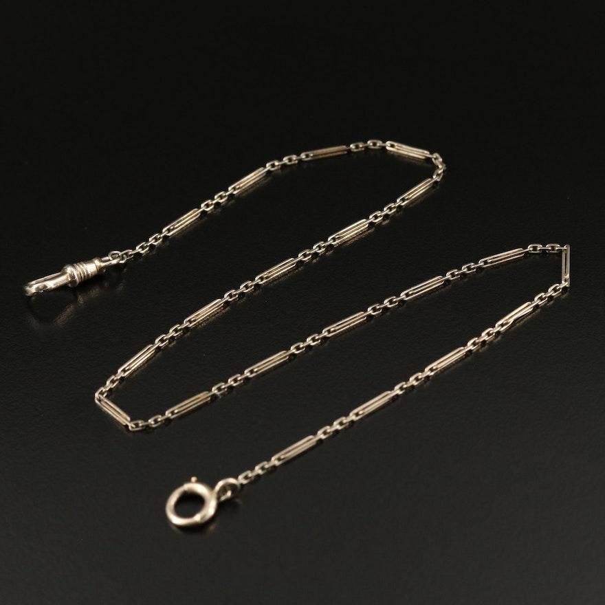 Vintage 14K Bar Link Watch Chain