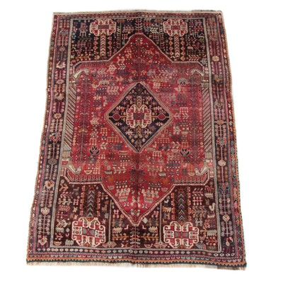 5'4 x 8'10 Hand-Knotted Persian Qashqai Wool Rug