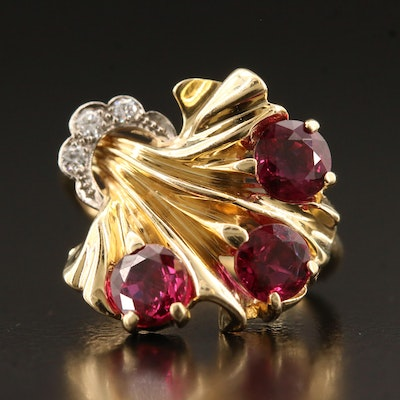 Retro 14K Ruby and Diamond Foliate Ring with Palladium Accent