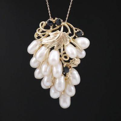 S. J. Lau 14K Pearl and Sapphire Grape Cluster Pendant Necklace