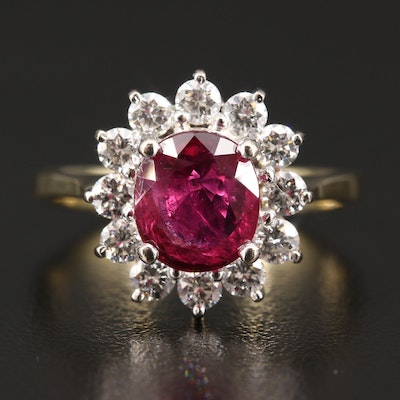18K 1.91 CT Ruby and Diamond Ring with GIA Report