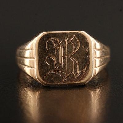 Vintage 10K Signet Ring