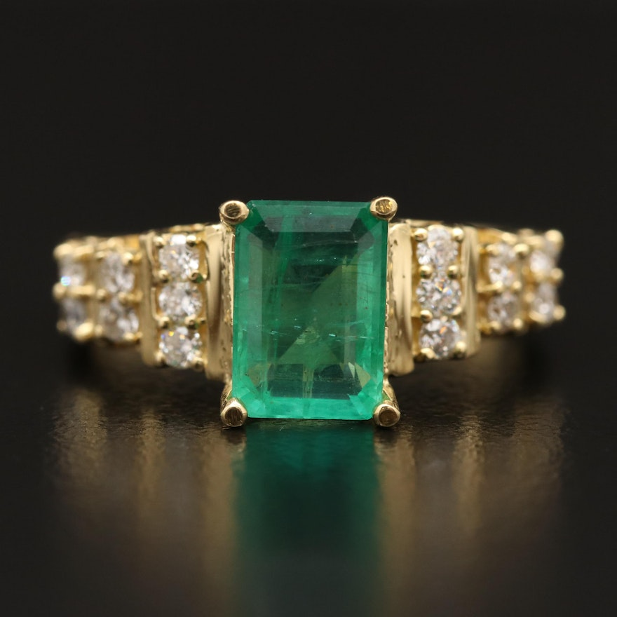 18K 1.66 CT Emerald and Diamond Ring Featuring Step Design