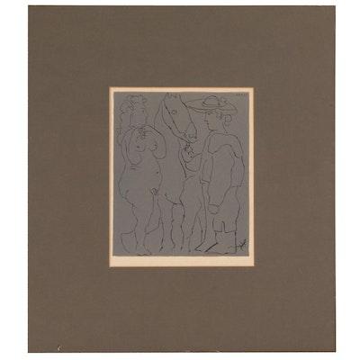 "Pablo Picasso Linoleum Cut ""Picador, Woman & Horse"""