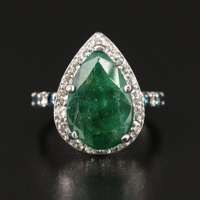 18K 5.30 CT Emerald and 1.28 CTW Diamond Pear Shape Ring with GIA Report