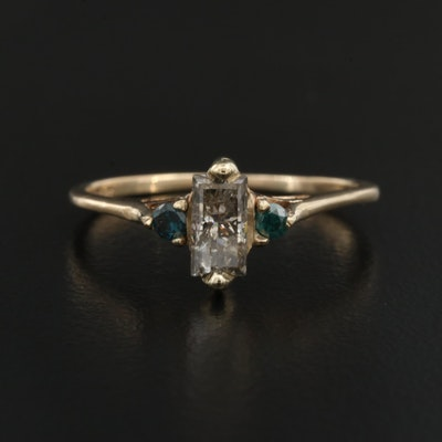 10K Diamond Ring with Blue Diamond Accents