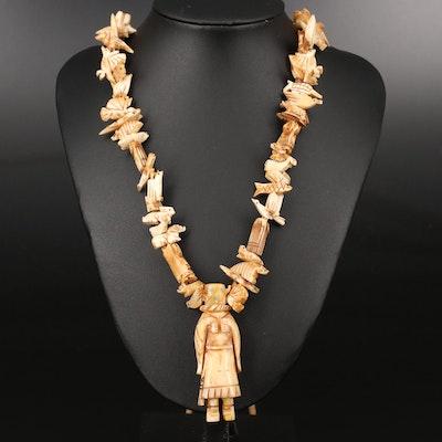 Western Carved Bone Fetish Necklace
