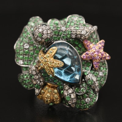 18K Diamond and Gemstone Ocean Life Ring
