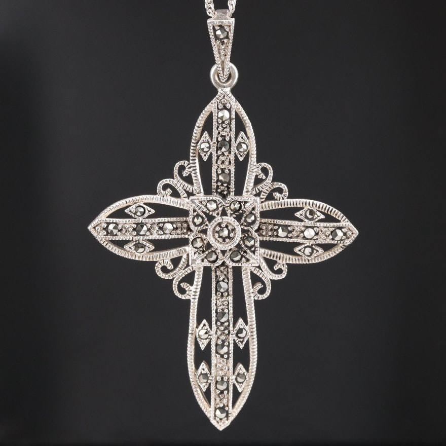 Sterling Marcasite Cross Pendant on Singapore Chain