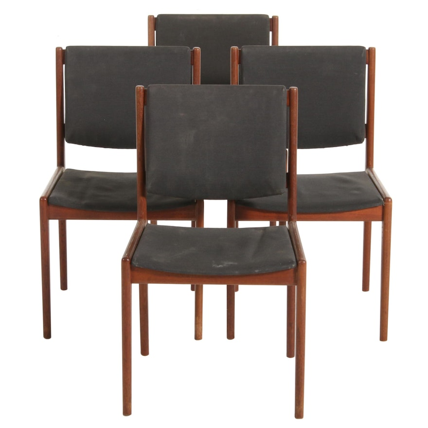 Four Mid Century Modern Teak Side Chairs