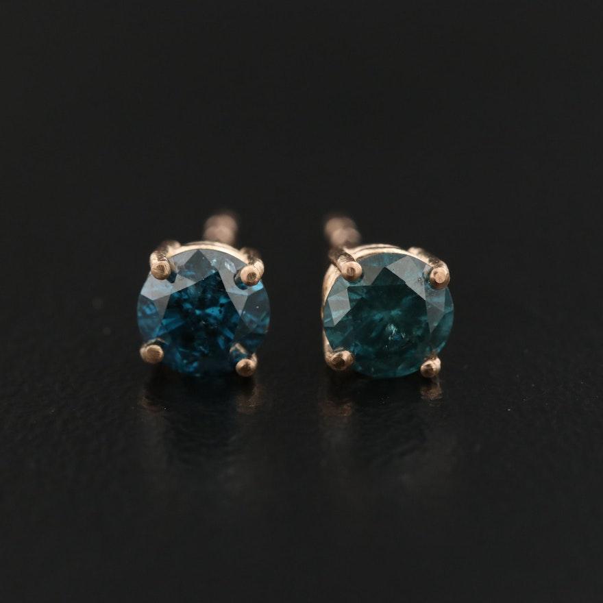 14K 0.80 CTW Diamond Solitaire Earrings