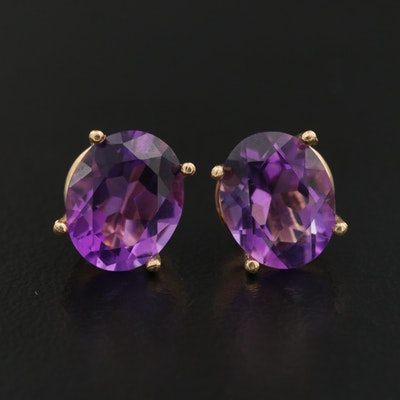 14K Oval Faceted Amethyst Solitaire Earrings