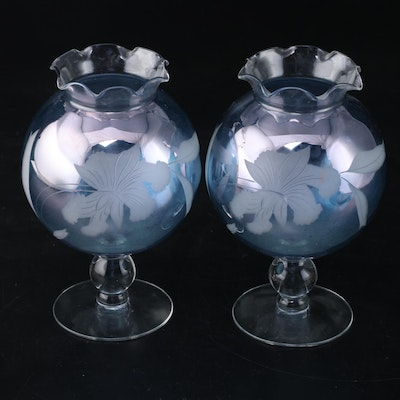 Pair of Etched Blue Glass Rose Bowls, Mid to Late 20th Century