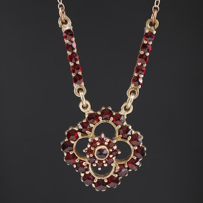 Vintage Bohemian Garnet Necklace in Sterling Silver
