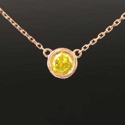 18K Rose Gold 0.39 CT Yellow Diamond Bezel Set Solitaire Necklace