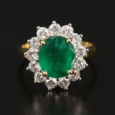 Platinum and 18K 2.30 CT Emerald and Diamond Ring with GIA Report