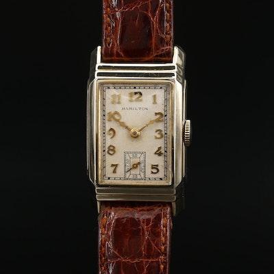 "1935 Hamilton ""Nelson"" 14K Gold Filled Stem Wind Wristwatch"