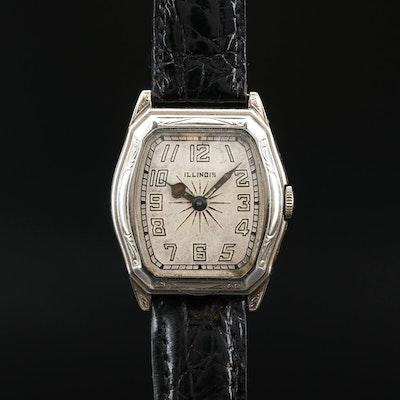 1929 Illinois 14K White Gold Stem Wind Wristwatch