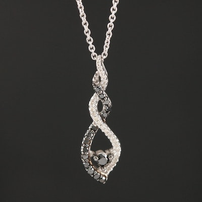 Sterling Diamond and Black Diamond Twist Pendant Necklace
