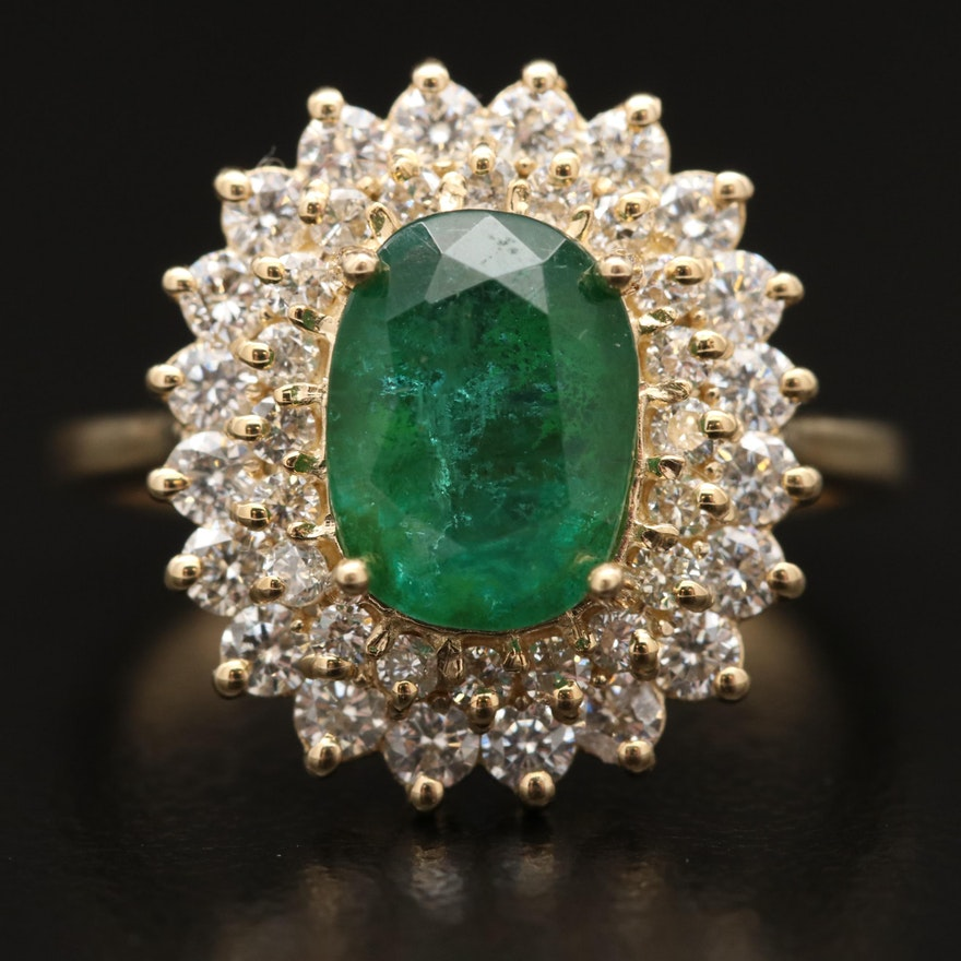 14K 2.03 CT Emerald and Diamond Ring