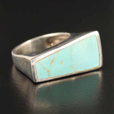 Modernist Sterling Faux Turquoise Bar Ring