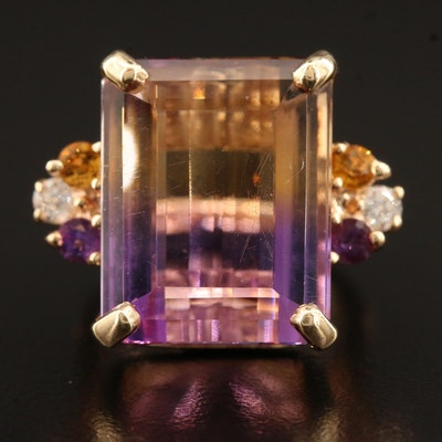 14K Ametrine, Amethyst, Citrine and Diamond Ring with Arthritic Shank