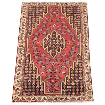 4'1 x 6'9 Hand-Knotted Persian Shirvan Wool Rug