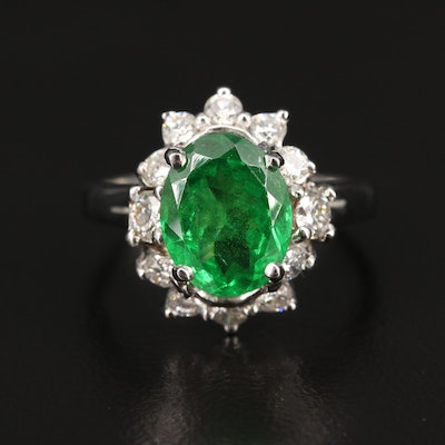 14K 2.71 CT Tsavorite and Diamond Halo Ring with GIA Report