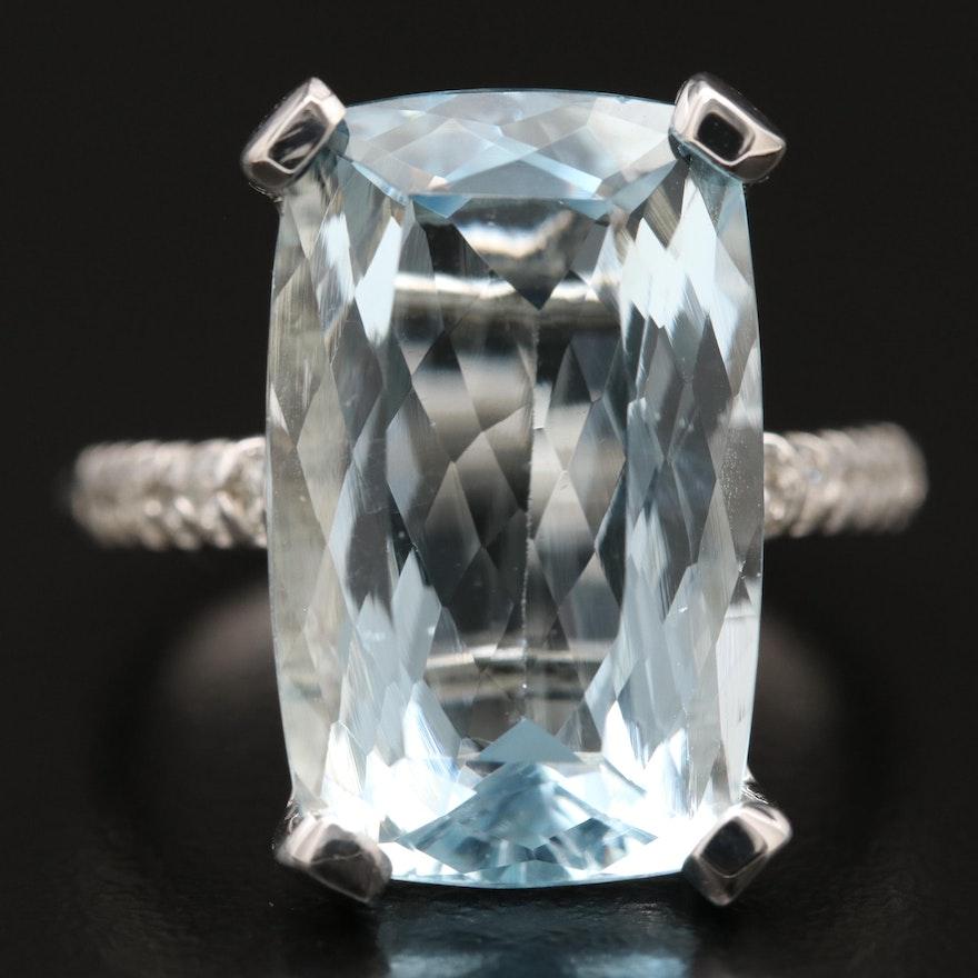 14K 10.33 CT Aquamarine and Diamond Ring