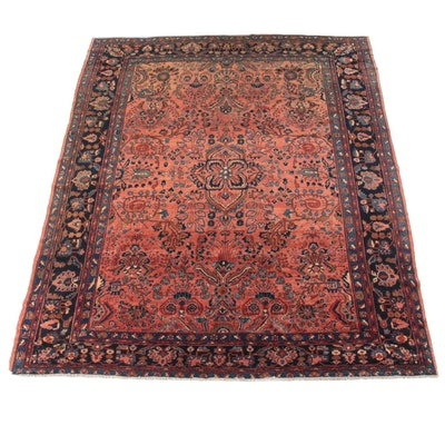 9'0 x 11'9 Hand-Knotted Persian Sarouk Wool Rug
