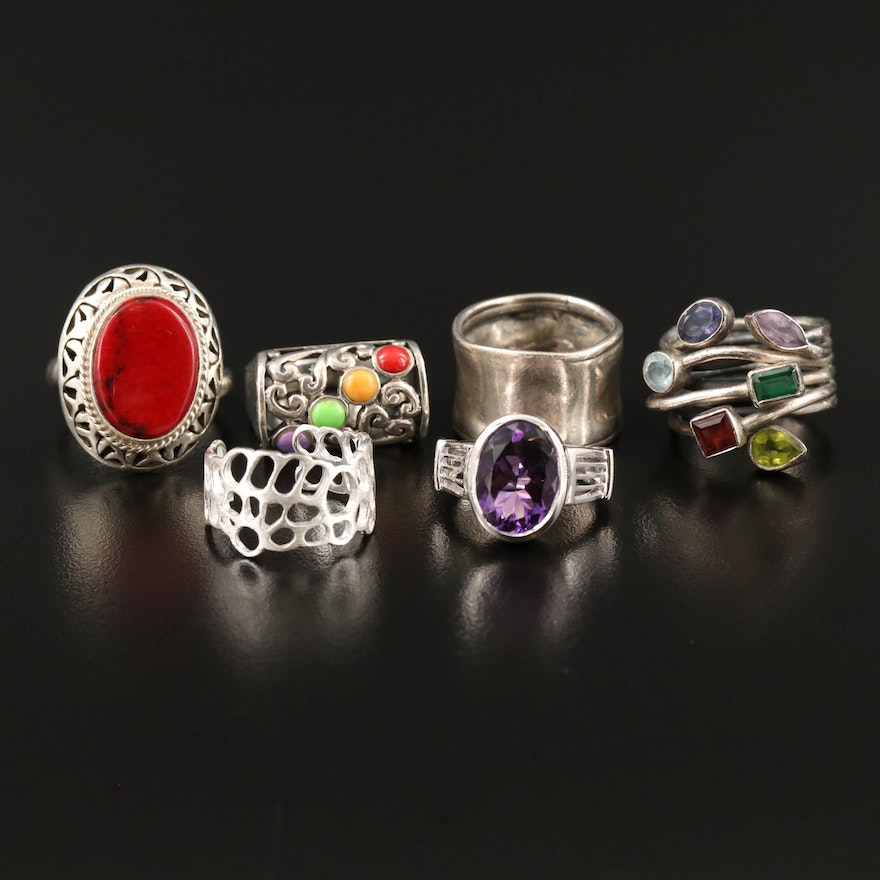 Sterling Silver Ring Selection Featuring Amethyst, Garnet and Peridot Accents
