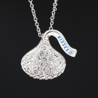 """Kisses"" Rhinestone and Enamel Candy Pendant on Sterling Silver Chain Necklace"