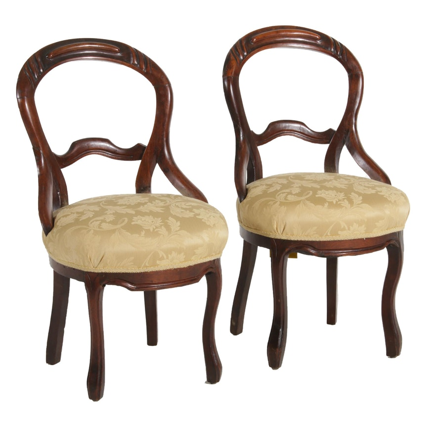 Pair of Victorian Balloon Back Walnut Side Chairs, Early 20th Century