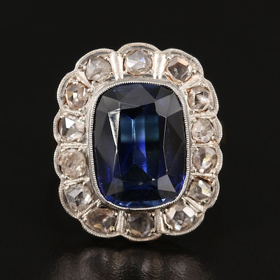 Vintage 14K Sapphire and Diamond Platinum Ring with GIA Report