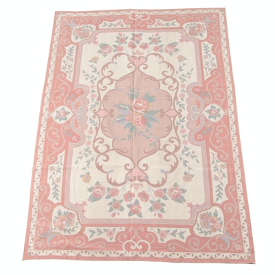 5'10 x 9'0 Handmade French Aubusson Needlepoint Wool Rug