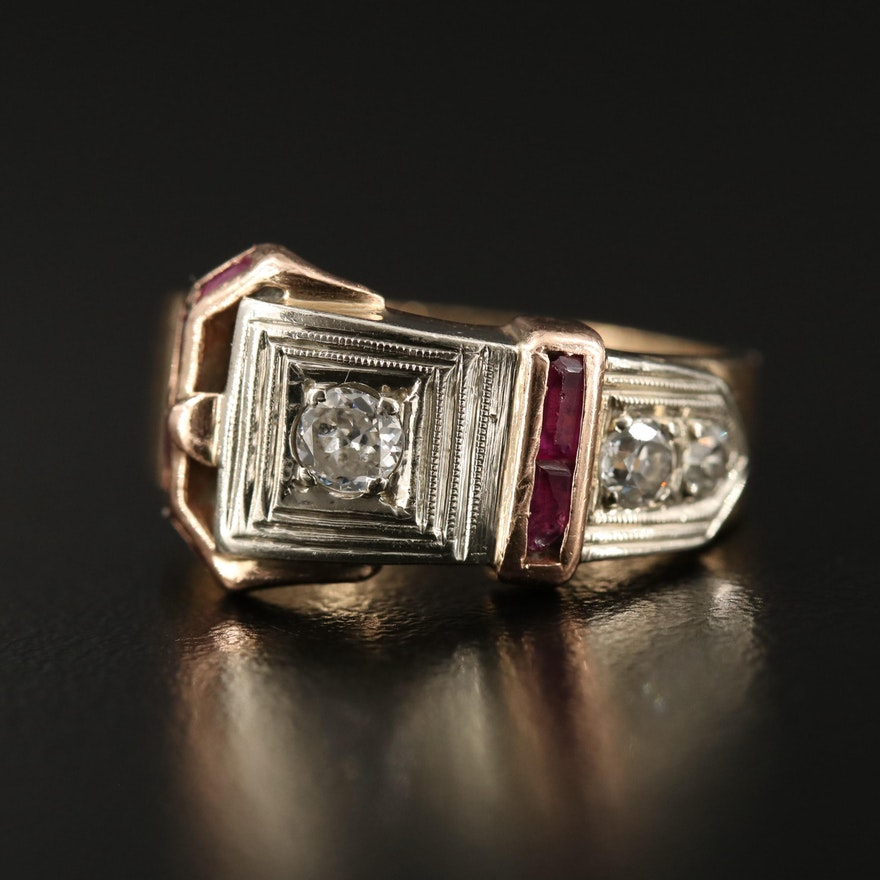 Vintage 14K Ruby and Diamond Buckle Motif Ring