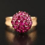 Vintage 18K Ruby Cluster Ring